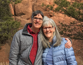photo of Pete and Nancy hiking at Garden of the Gods in Colorado Springs